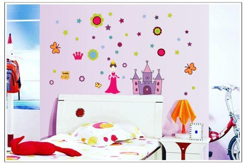 cheap wall decals -YYone Princess in Crown with Stars Circles Butterflies Castle DIY Wall Decal Super for Girls Room Decal