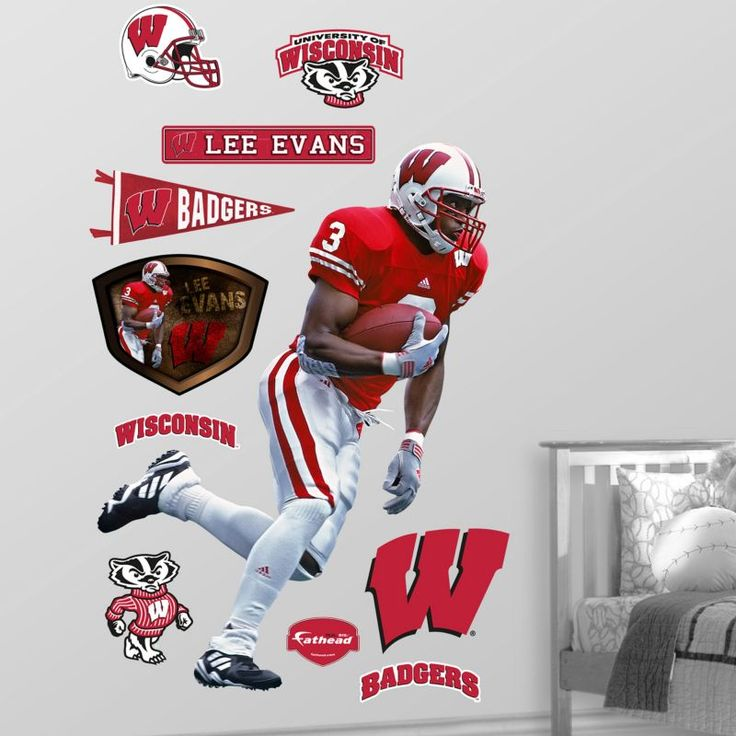 Fathead Lee Evans Wisconsin Badgers Wall Graphic