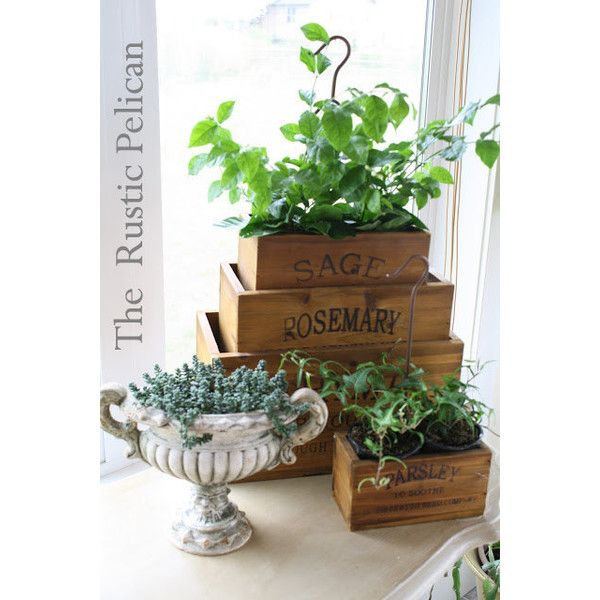 Rustic Wooden Herb Boxes -Nesting Herb Boxes Set of 4 -Reclaimed Wood... ($159) ❤ liked on Polyvore featuring home, home decor, small item storage, reclaimed wood planter, wooden planters, wooden planter box, wood box and wooden home decor