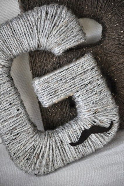yarn wrapped letter. cut letter from anything cardboard. this is a great idea! change the color yarn and it could go in a nursery or even on a wall in a living area. ------ <3