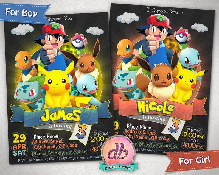 Pokemon Invitation, Pokemon Birthday Party, Pokemon Go Game, Pikachu, Eevee, Ash, Cartoon, Personalized, Printable, Chalkboard, Digital File by DesiredBirthday on Etsy https://www.etsy.com/listing/521337509/pokemon-invitation-pokemon-birthday