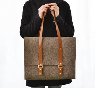 wool satchel in navy and what is called grey (see photo) but looks brown. must be color corr ish