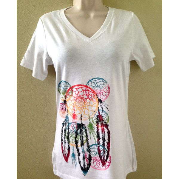 Womens White T-Shirt Dream Catcher Feathers Tribal Native American ($20) ❤ liked on Polyvore featuring tops, t-shirts, silver, women's clothing, white tops, tribal print t shirt, silver shirt, native american shirts and tribal shirts