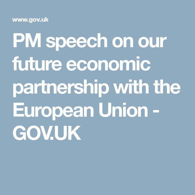 PM speech on our future economic partnership with the European Union - GOV.UK
