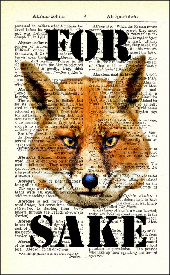 Dictionary Art Print For Fox Sake Framed Vintage Poster