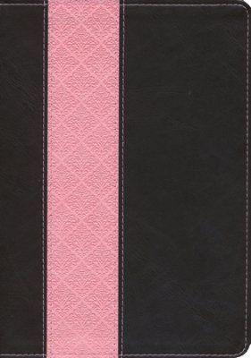 NKJV: Life Application Study Bible Large Print TuTone Leatherlike Brown/Pink
