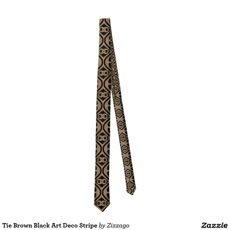 Tie Brown Black Art Deco Stripe