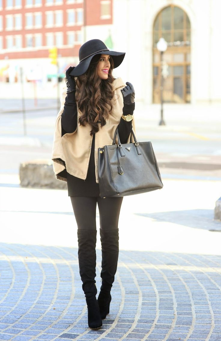 cape + floppy hat + suede boots