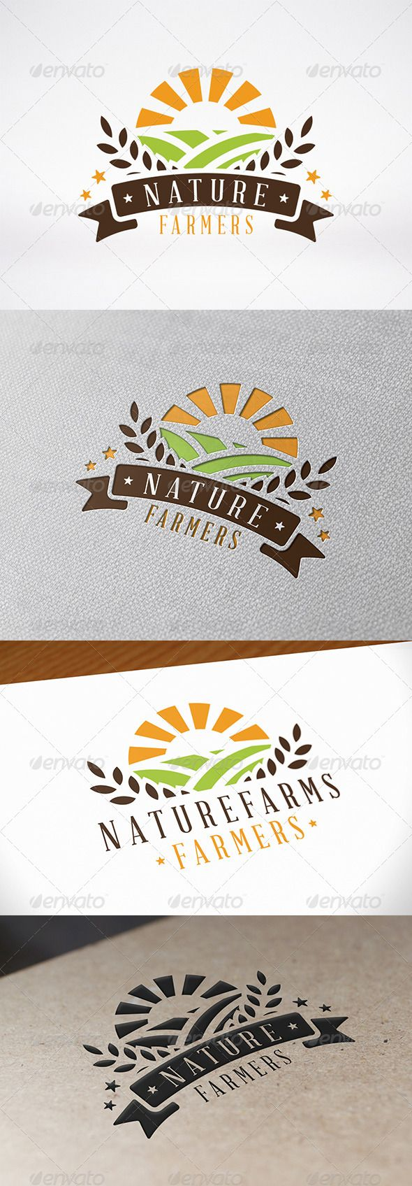 Green Farm Logo Template — Vector EPS #leaves #field • Available here → https://graphicriver.net/item/green-farm-logo-template/8096745?ref=pxcr