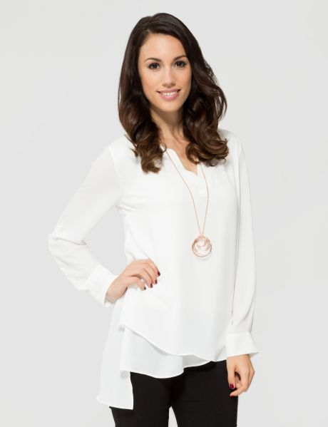 A collarless open placket blouse, with roll-up tab sleeves and double uneven layers at the front hem.