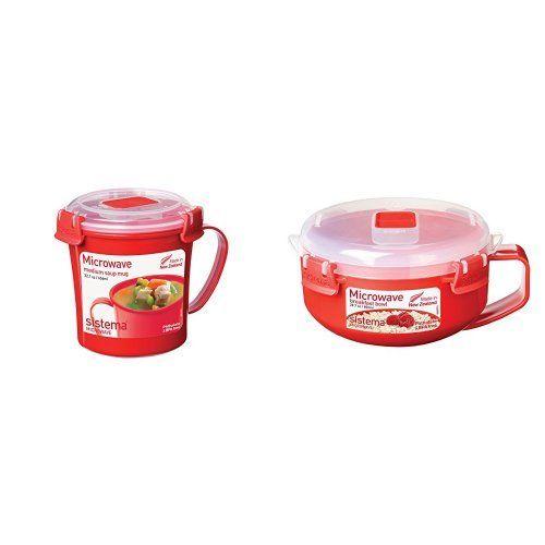 Sistema Microwave Breakfast Bowl And Soup Mug Bundle - Red