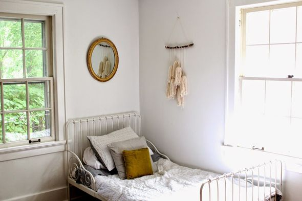 MINNEN IKEA Bed. Bedroom from Mama Watters blog (Amanda Watters). Kids bedroom, Kids room, Kids decor.
