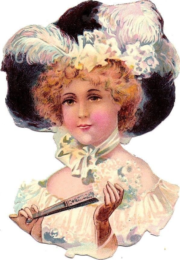 Oblaten Glanzbild scrap die cut chromo Dame lady 11cm femme head portrait buste