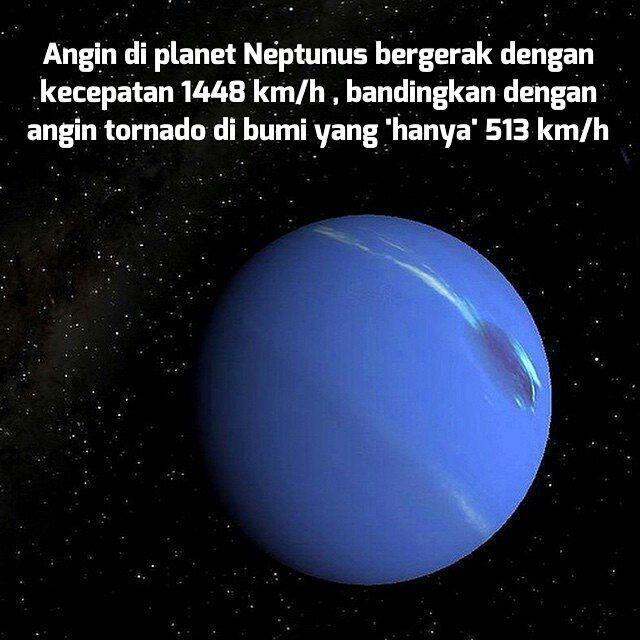 provocative-planet-pics-please.tumblr.com . Tahukah kalian ternyata Neptunus memiliki angin tercepat di dunia dan kecepatannya jauh melebihi kecepatan angin di Bumi. Neptunus memiliki angin dengan kecepatan maksimum 600 m/s atau 2160 Km/hkecepatan ini melebihi kecepatan suara di udara atau kecepatan supersonik.Kecepatan angin di Neptunus bervariasidi atmosfer bagian atas yang berada di ekuatorkecepatan angin bisa mencapai 400 m/s atau 1440 Km/h dan 250 m/s atau 900 Km/jam di daerah kutub…