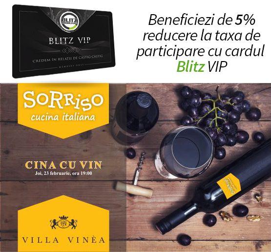 """În data de 23 februarie începând cu ora 19:00 partenerii noștri Bistro Sorriso te invită la o """"Cină cu Vin"""" unde alături de Villa Vinea se vor degusta 4 tipuri de vinuri de pe Valea Târnavei Mici alături de 4 preparate aflate în perfectă armonie cu acestea pe ritmuri live de saxofon. Taxa de participare este de 99 lei iar posesorii cardului vor beneficia de 5% discount. ."""