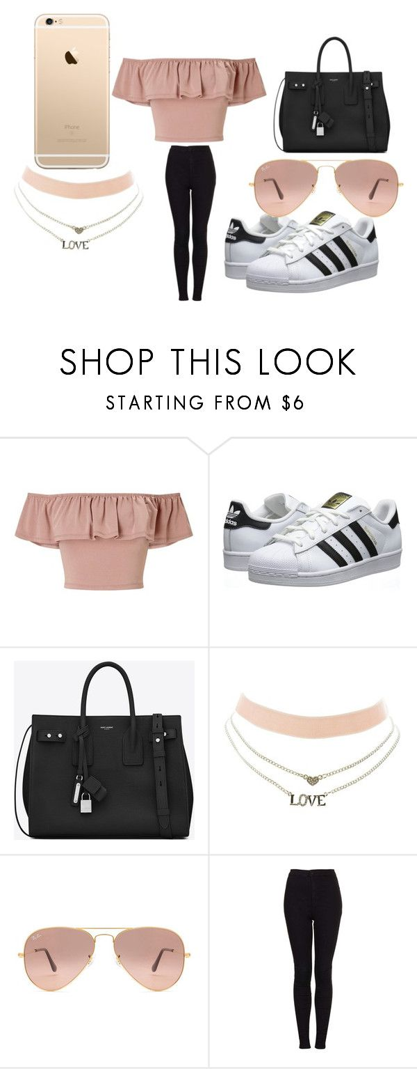 """rose gold"" by egla-omambia ❤ liked on Polyvore featuring Miss Selfridge, adidas Originals, Yves Saint Laurent, Charlotte Russe, Ray-Ban and Topshop"