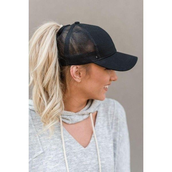 Messy Bun Baseball Hat Black Mesh ❤ liked on Polyvore featuring accessories, hats, mesh hats, trucker cap, baseball caps, ball cap and fitted mesh hats