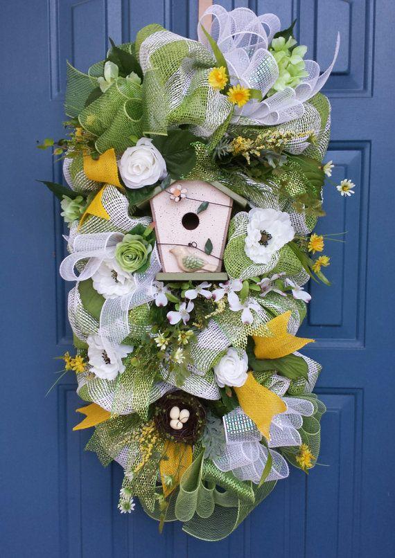 Spring swag spring wreath Spring deco mesh by WonderfulWreathsKim, $95.00