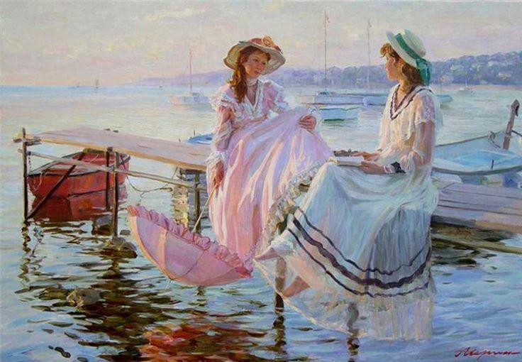 <여름날(Summer Time)>  알렉산더 아버린(Alexander Averin)알렉산더는 1952생 러시아 화가이다. 그의 그림체는 19세기말 러시아 화가들에의해 강한 영향을 받았으며, 그의 그림들은 주로 밝고 정적이며 관찰자적 구도로 그려졌다. 그의 그림 소재는 보통 바다와 관련이 있는데, 주로 바닷가에서 아이들이 즐겁게 뛰어 노는 모습이나 이 작품과 같이 해변가에서 아름다운 여인들이 이야기를 나누는 장면을 담고 있다. 개인적으로 보기에 두 여자는 매우 친밀한 관계인듯하다, 차려 입은 옷으로 보아서는 품위있게 차집에서 이야기를 나눌것 같지만, 알렉산더는 이들을 자유로운 모습으로 표현하였다. 이들은 오히려 신발도안 신은채 바다근처의 한 간판위에 앉아 자유롭게 이야기를 나누고있다.