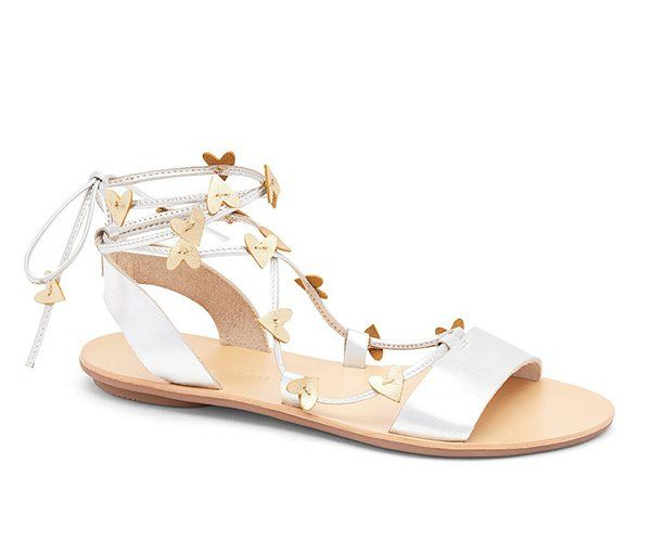 Metallic Schuhe: Loeffler Randall «Heartla» Sandal in Gold und Silber