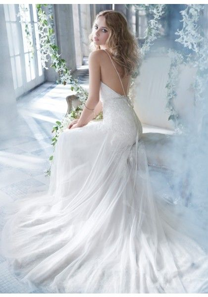 Spaghetti Strap Court Train Lace Sheath Column Wedding Dress