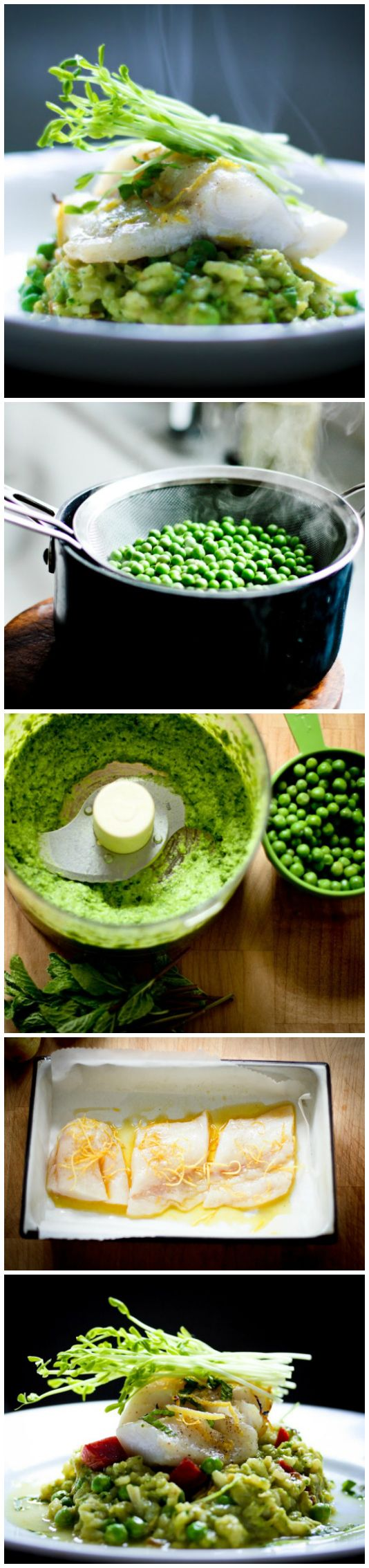 Spring Pea Risotto....with fresh Halibut, mint and lemon. Makes for an elegant tasty dinner. | www.feastingathome.com