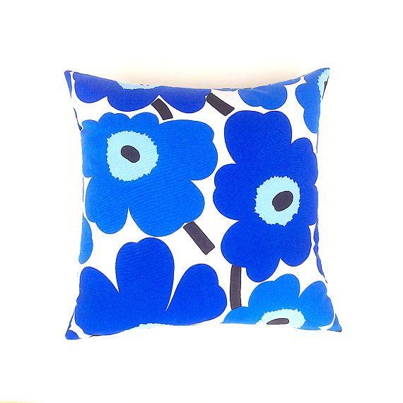Marimekko Blue Cushion Cover. Blue and White Floral Cushion.