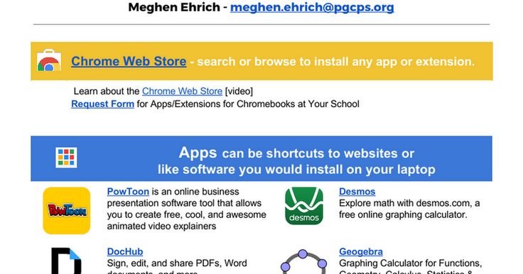 Meghen Ehrich - meghenehrich@pgcpsorg Chrome Web Store - search - software request form