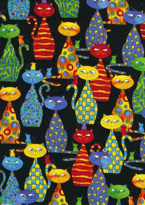 Cats and Dogs Funky Cat Black by Timeless Treasures