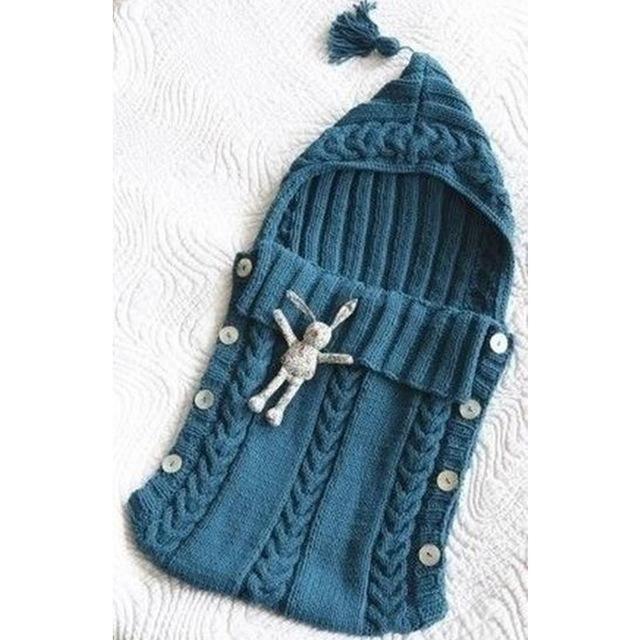 Baby Swaddle Wrap Warm Wool Crochet Knitted Newborn Infant Sleeping Bag Baby Swa…