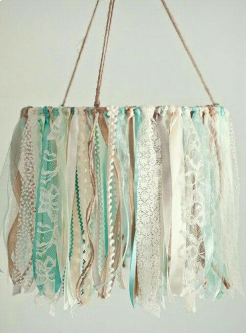 DIY Window/door treatment for Guest Mermaid Lagoon Bedroom -- Ribbon mobile