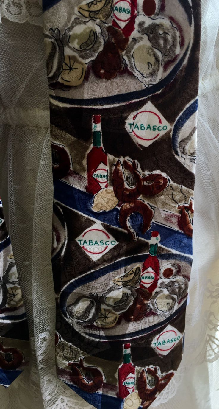 Neck tie, Tabasco, collectors, office attire, novelty tie by 406HLvintageupcycle on Etsy