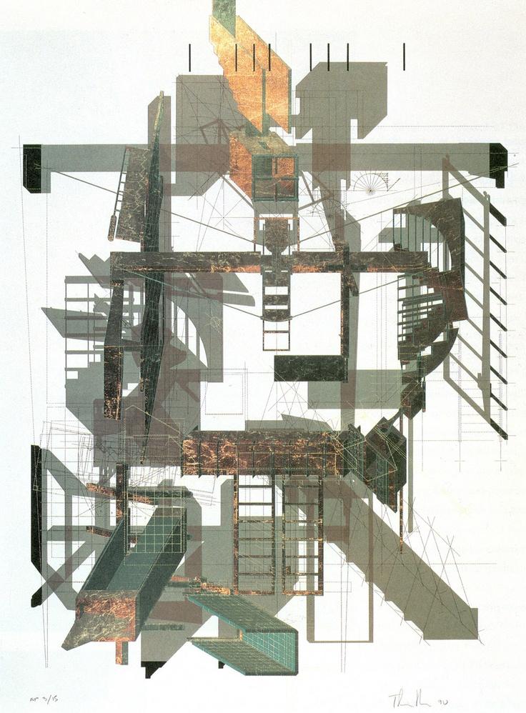 Thom Mayne with Andrew Zago | Sixth Street | Santa Monica, California | 1990 Isometric and Plan Screenprint with metal foil on paper. ©Thom Mayne