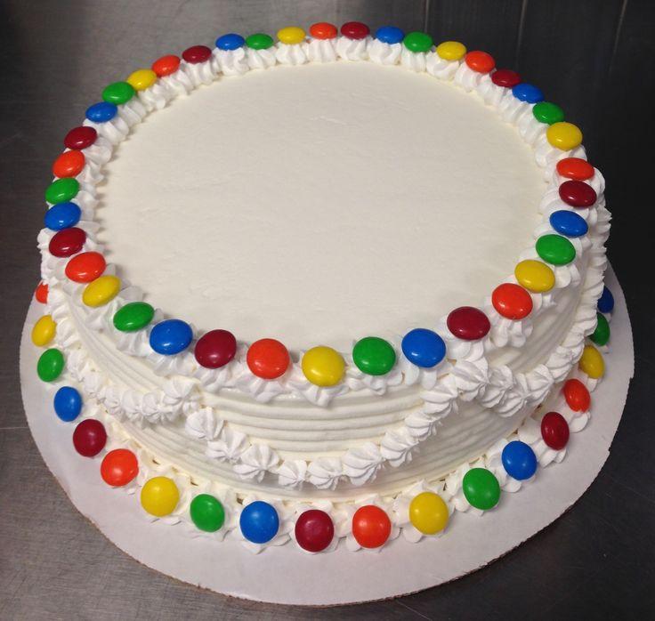 M&M rainbow border DQ ice cream cake