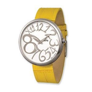 Moog Stainless Steel Round Silver Dial Watch w/(MC-16) Yellow Band - SalmaWatches.com $209.95
