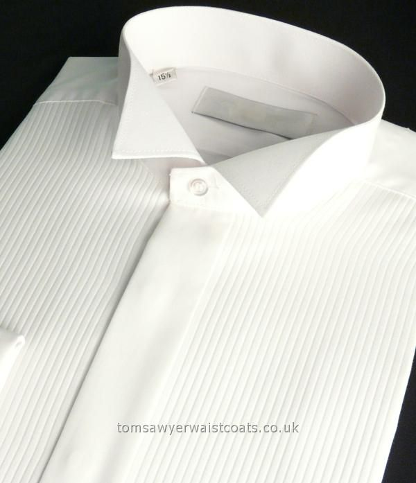 Shirts : Wing Collar Shirts : White Wing Collar Evening Dress Shirt with Narrow Pleat Effect Front Extra Long Length(tux collar)
