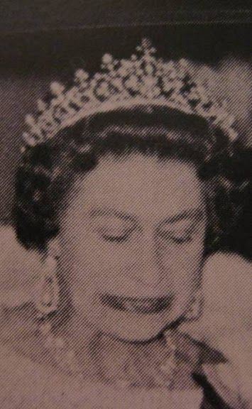 a slightly fuzzy image of HM in the Plunket tiara, but one which shows more detail of the piece