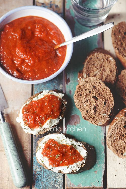 Ajvar. It's a Serbian roasted red pepper, eggplant and garlic condiment and it is to die for!  EASY
