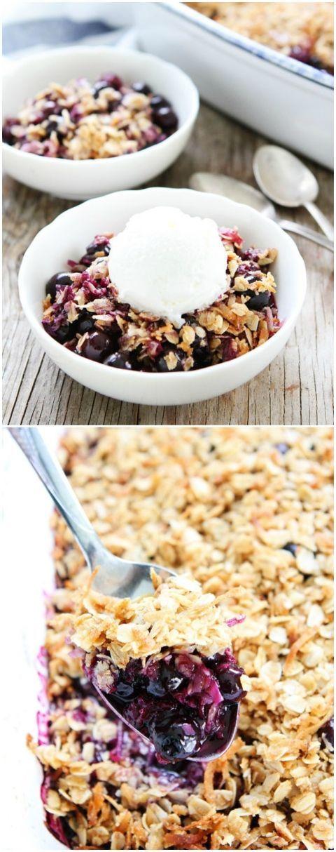 Easy Blueberry Coconut Crisp Recipe on http://twopeasandtheirpod.com. The perfect summer dessert!