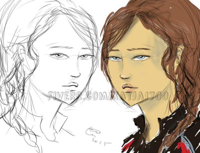 Katniss Everdeen cartoon portrait https://www.fiverr.com/katja1700/draw-custom-cartoon-portrait-western-anime-style
