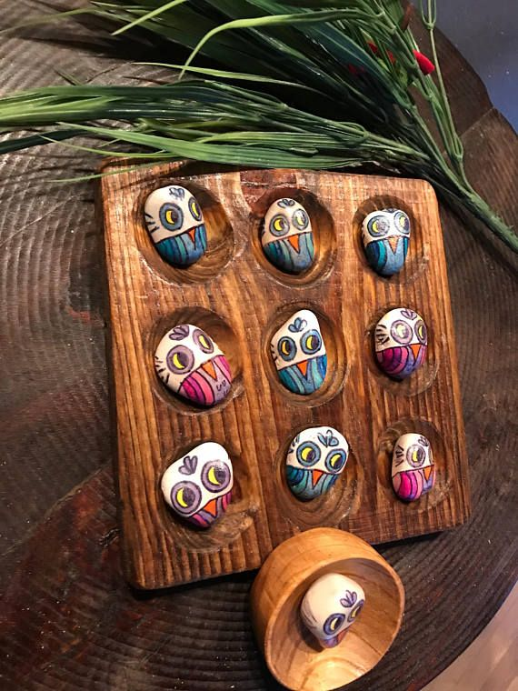 Painted Owl Stone Game Wood Board Nine Spaces Carved Ten Rocks