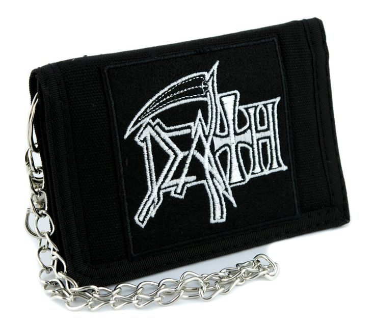Death Tri-fold Wallet w/ Chain Heavy Metal Music Band Grindcore