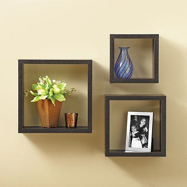 Buy Square Wall Cubes in Dark Walnut (Set of 3) from Bed Bath & Beyond - spray paint black?