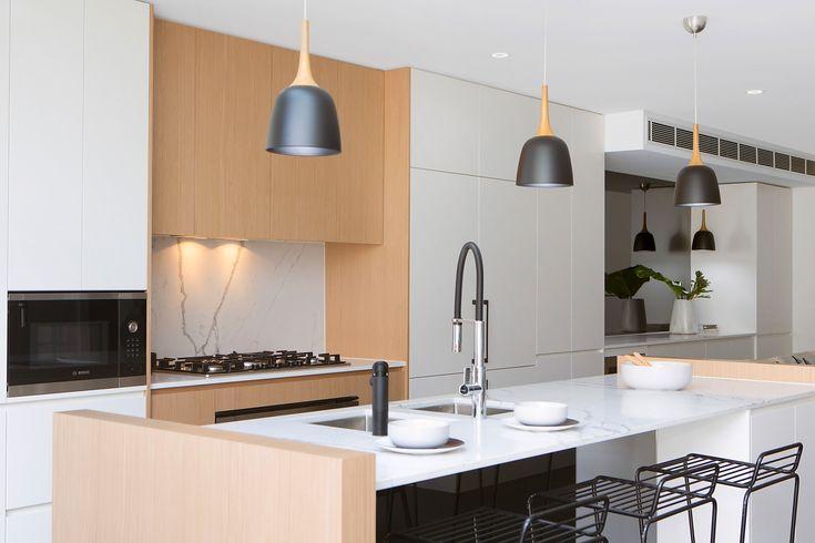 Superb gas kitchen, Bosch appliances, scandi look, on trend, styled, custom cabinetry, black tapware, breakfast bar, metal stools, Pilcher Residential