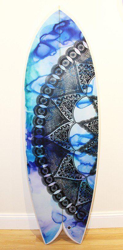 Mandala 2 Surfboard by Felicity Palmateer