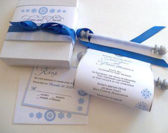 Winter fairytale wedding invitation suite, winter wedding invitation, blue and silver, snowflakes invitation, 25