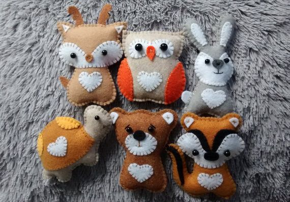 Woodland Animals Felt Ornaments / Owl, Deer, Bear, Chipmunk, Rabbit or Turtle/ Handmade Ornaments