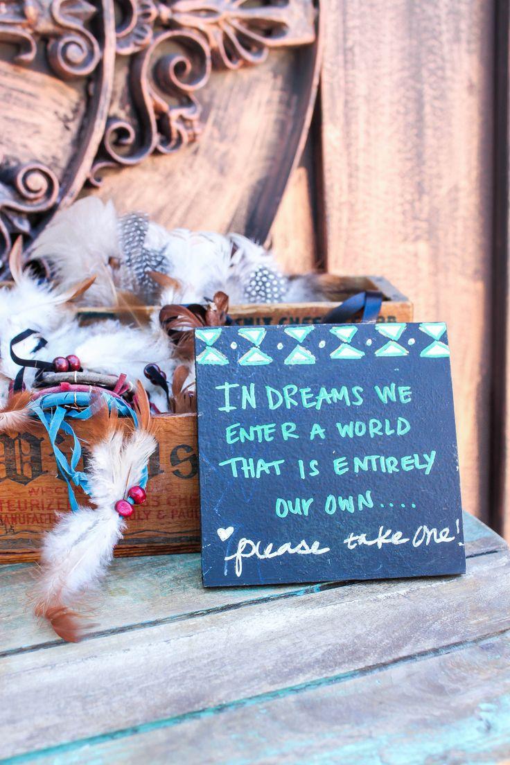 Navajo theme  Dream catchers  Party Favors  DIY chalkboard    Photo Credit  Cori Kleckner Photography