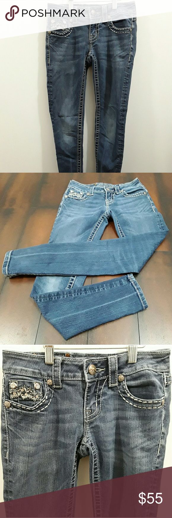 Miss Me denim skinny blue buckle jeans Miss Me brand denim skinny blue jeans buckle size 25. Non smoking house. Good used condition. No holes. Miss Me Jeans Skinny