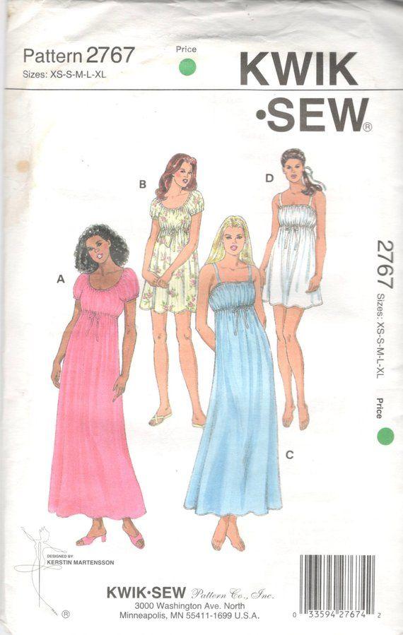 6737923b76 Kwik Sew 2767 Misses Empire Waist Nightgown Pattern Josephine Style ...